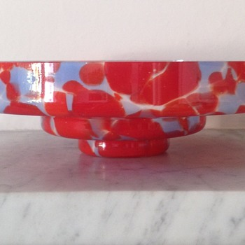 Blue and red Welz-y bowl sold as ceiling light - Art Glass