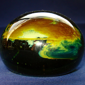 Martin Demaine Green Round Paperweight - Art Glass
