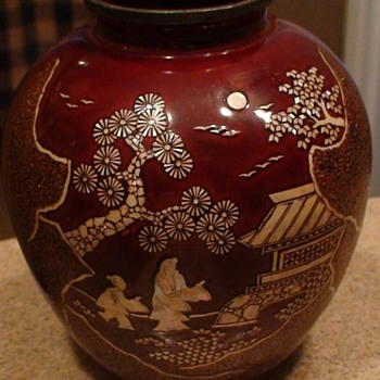 Vintage Oriental Wooden Vase Inlaid With Mother-Of-Pearl