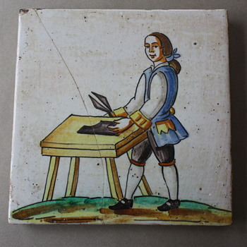 Tile Depicting Colonial Leather Worker