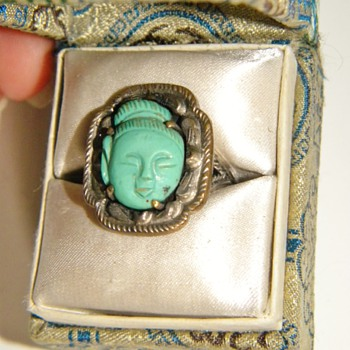 Antique Chinese Carved Turquoise Quan Yin Etched Silver Ring W/Orig Box - Asian