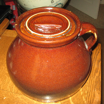 Unusual Bean Pot marked TB