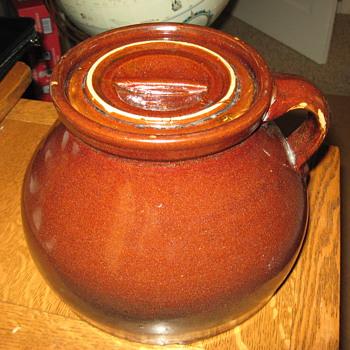 Unusual Bean Pot marked TB