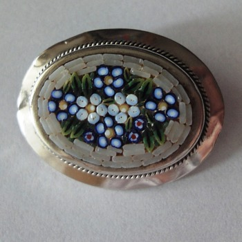 Silver (Micro) Mosaic brooch end 19s begin 20s century