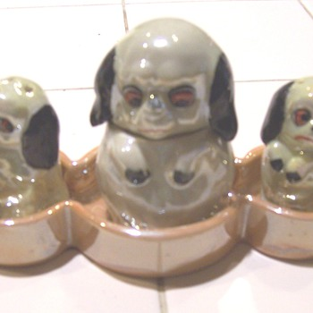 Luster dog condiment & salt/pepper sets