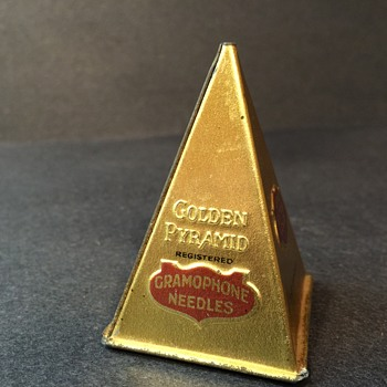 Antique Golden Pyramid Phonograph Needle Tin - Records