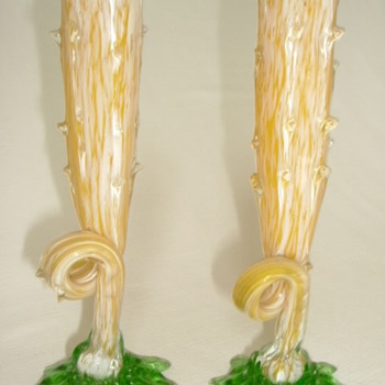 Welz Spatter Glass Thorn Vases