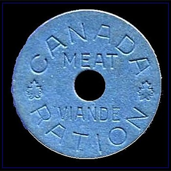 CANADA -- MEAT RATION TOKEN ( War / Military related ) - World Coins