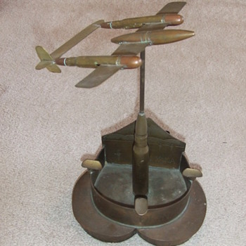 Trench art P-38 on heart shaped base c. 1946