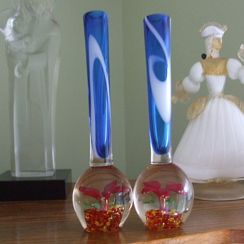 Pair of Abandoned and Forgotten 1950's Paperweight Vases
