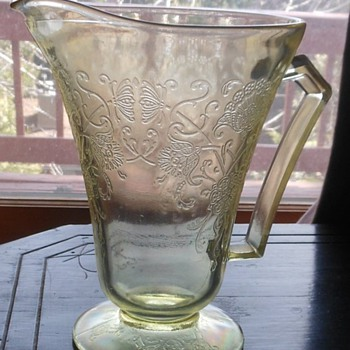 Yellow Depression Glass Pitcher - Glassware