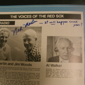 Ned Martin Auto....1975 Red Sox Yearbook - Baseball