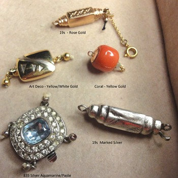 19s and Art Deco Silver and Gold Clasps