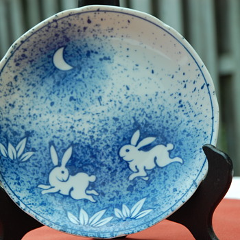 Hares in the Midnite Garden  - Art Pottery
