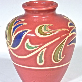 Dark Rouge Colored Small Bulbous Decorated Vase - Art Pottery