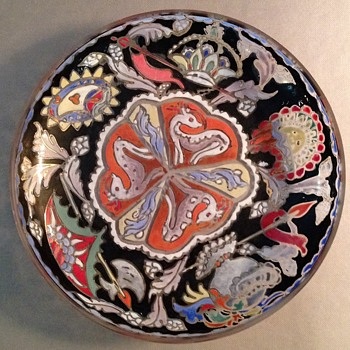 MOSER ENAMEL BLACK AND GOLD HANDPAINTED ENAMEL BOWL