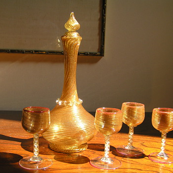 Salviati Decanter and Glasses - Art Glass