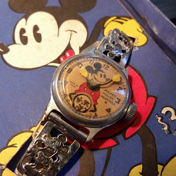 1937 Mickey Mouse Wristwatch... Blue Box - Wristwatches