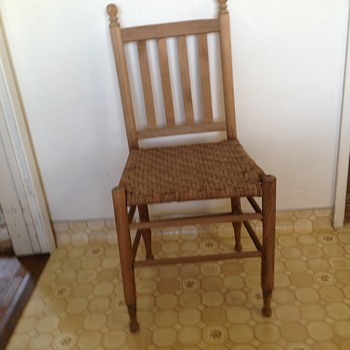 Old wood & rattan chair, Found in Mom's attic.  - Furniture