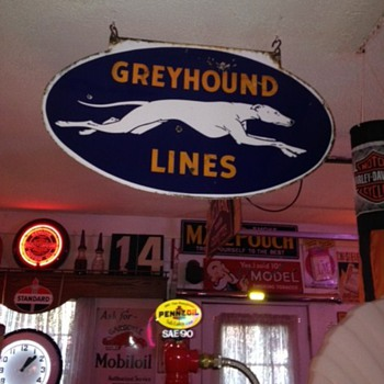 Greyhound Lines Double Sided Porcelain Sign...Three Colors - Signs