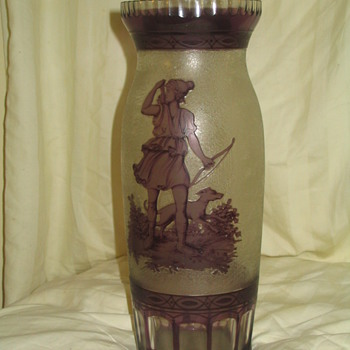 "FINE 11"" ACID CUT 2 COLOR CAMEO VASE - Art Glass"