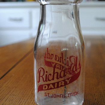 Richard's Dairy Milk Bottle- St. Johns, MI - Bottles