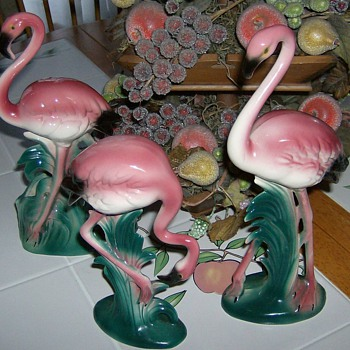 The Three Flamingos!! - Art Pottery
