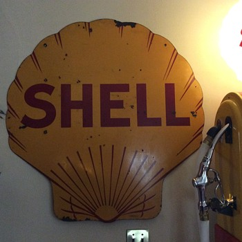1929 Shell Doubled Sided Porcelain Sign