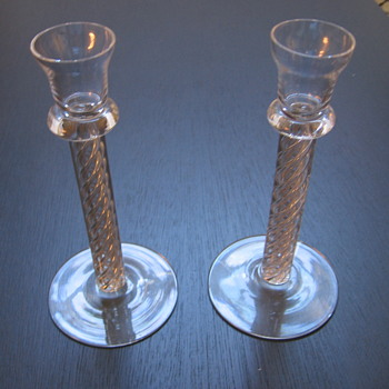Set of two (2) hand blown glass candlesticks