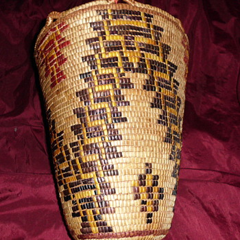 Klickitat Native American Fancy Polychrome Berry Basket - Native American