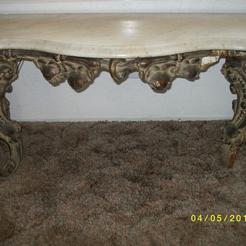 Marble Top Half Moon Console with Mirror (over 100 years old) - Furniture