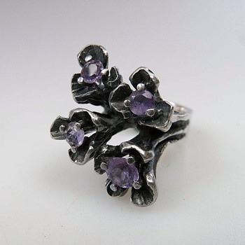 Amethyst And Sterling Ring By OPUS