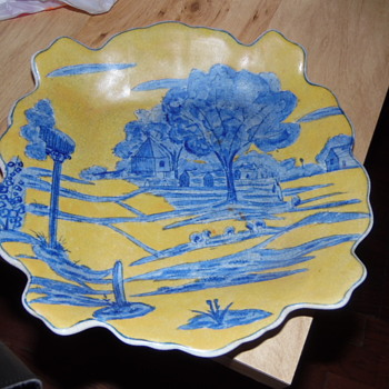 Beautiful Antique Platter County Scene&Antique Gold Rim Bowl