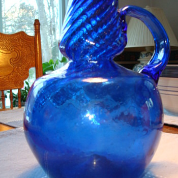 Blue blown glass jug   SOME INFO IF ANYONE KNOWS ANYTHING - Glassware
