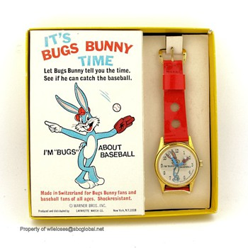 1971 Bugs Bunny Baseball Watch in Box by Lafayette - Wristwatches