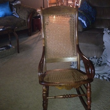 This is a rocking chair my grandfather made for me when I had my first child