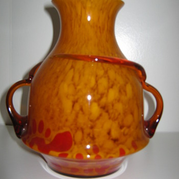 Czechoslovakia Glass Vase unusual shape and decor By Kralik - Art Glass