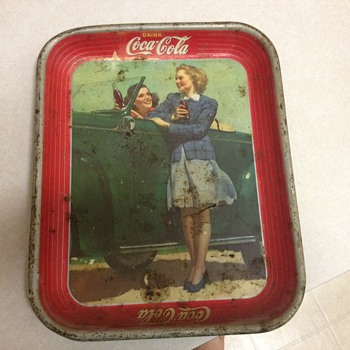 Two Girls in Car Coca Cola Tray