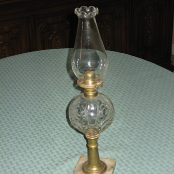 Bullseye Pattern Kerosene Lamp With Marble Base  --  Circa 1861 to 1869