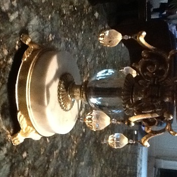 Vintage candle holder with metal and marble base