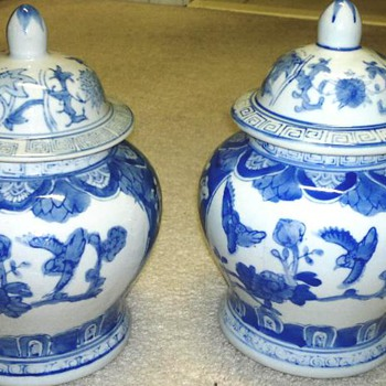 Blue &  White Covered  Jars