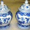 Blue &  White Covered  Jars