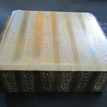 Fancy vintage German gold tone metal cigarette box with engrave floral pattern