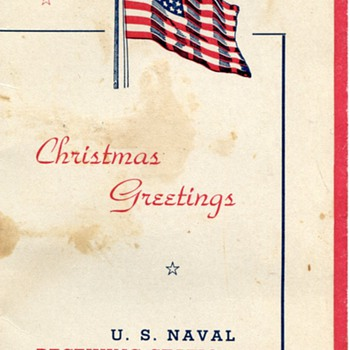 1943 Christmas Greeting from The US Naval Receiving Station, Norfolk, VA