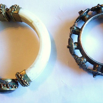 Bracelets Two old Tribal?  Ivory? (I think yes) From Where?  Need Help From the Team!