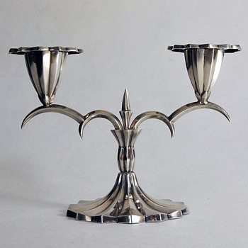 1910 Vienna Moderne Style Silver Candlestick by Hermann Bauer (Designer?) - Art Nouveau