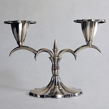 1910 Vienna Moderne Style Silver Candlestick by Hermann Bauer (Designer?) - Art Nouveau