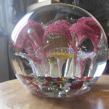 Ten Pound Trumpet Flower Paperweight - Art Glass