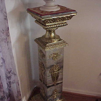 Pair of French Marble &amp; Bronze Pedestals