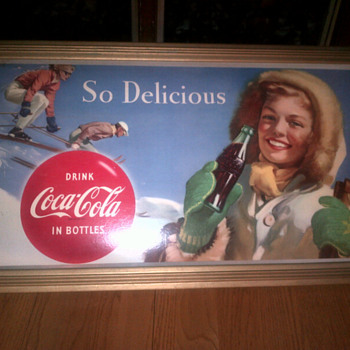 1958? Coca Cola cardboard sign w/ frame - Coca-Cola